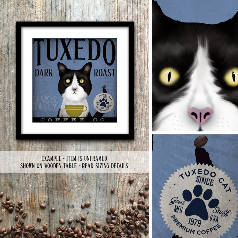 Tuxedo Cat Coffee company artwork original graphic illustration signed UNFRAMED artists print giclee by stephen fowler