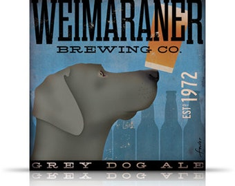 Weimaraner Brewing Company original graphic art gallery wrapped on canvas by stephen fowler