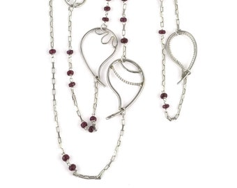 Ruby silver long necklace, paisley ruby necklace, ruby bead Indian jewellery, silver paisley, double wrap necklace, opera length, bead chain