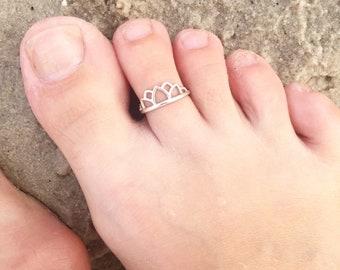 Toe ring, recycled sterling silver lotus tiara.