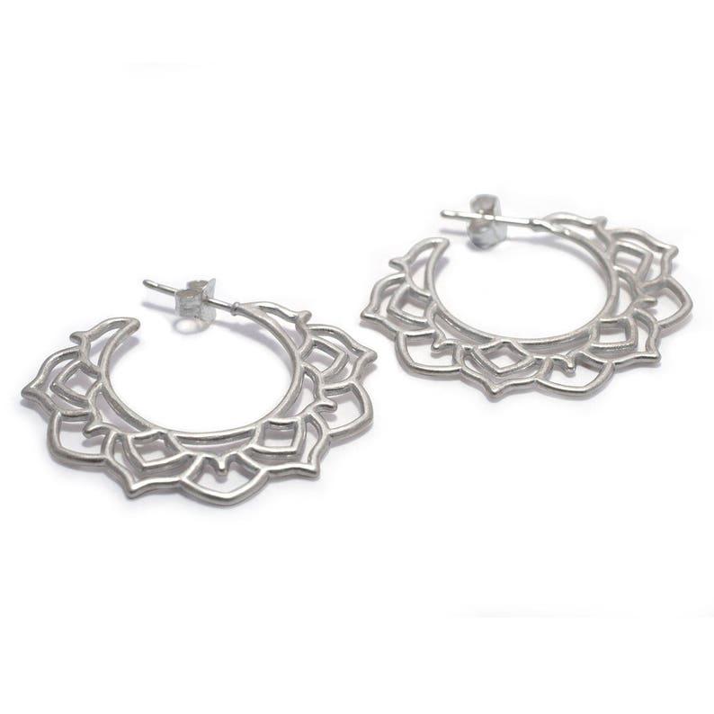 Contemporary Hoop Solid Sterling Silver Lotus Flower Earrings Inspiring Mandala Silver Hoop Earrings Statement Hoop Earrings