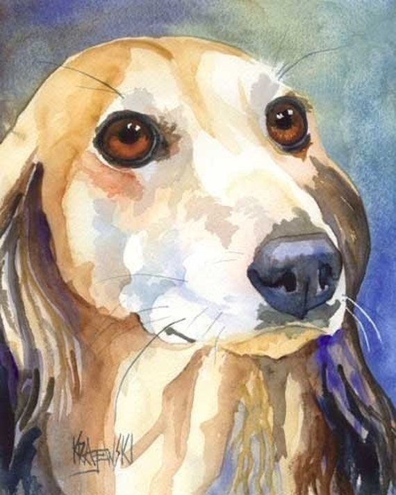 Saluki Dog Fawn Original Art Print 8x10 Matted to 11x14