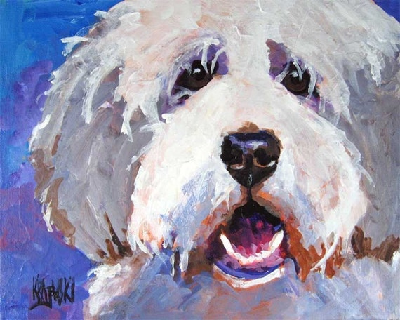bearded collie dog 8x10 art print poster watercolor painting