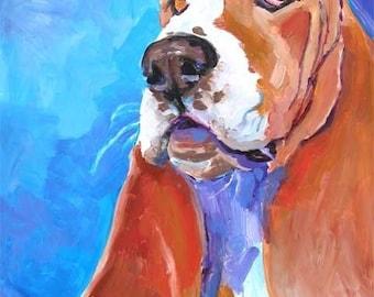 Basset Hound Art Print of Original Acrylic Painting - 8x10 Dog Art