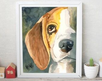 Beagle Gifts, Beagle Print, Beagle Painting, Beagle Art Print of Original Watercolor, Picture, Poster, Memorial, Decor, Wall Art, 11x14