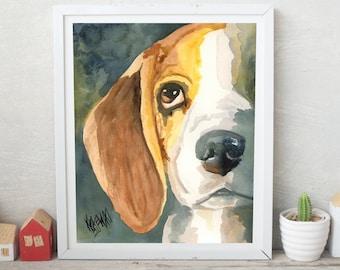 Beagle Portrait, Beagle Gifts, Beagle Painting, Beagle Art Print of Original Watercolor, Picture, Poster, Decor, Wall Art, Pop Art, 8x10