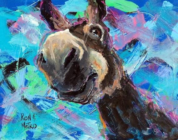 Pubg Fanart Acrylics Paper: Donkey Art Print Of Original Acrylic Painting Burro