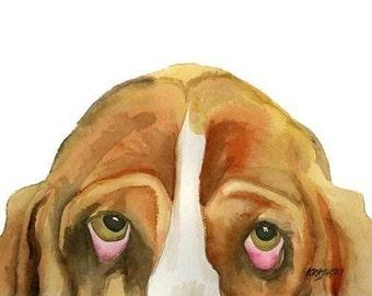 Basset Hound Art Print of Original Watercolor Painting - 8x10 Dog Art