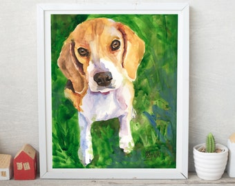 Beagle Art, Beagle Portrait, Beagle Gifts, Print of Original Watercolor Painting, Beagle Home Decor, Picture, Poster, Illustration, 8x10