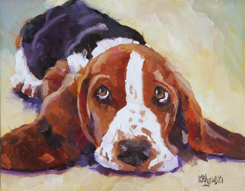 Basset Hound Art Print of Original Oil Painting  8x10 Dog Art image 0