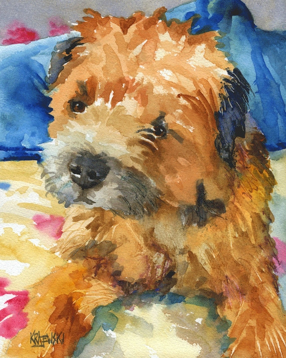 border terrier dog 8x10 art print poster watercolor painting