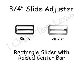 Silver 3//4 Bow Tie Slide Adjusters//Tri Glides//Tri Bars for Adjustable Straps Qty 10