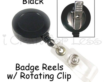 1 Badge Reel - Black - Retractable with Vinyl Strap and Rotating Clip - SEE COUPON
