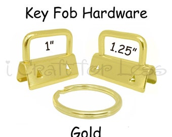 50 Key Fob Hardware with Key Rings Sets - 1 Inch or 1.25 Inch Gold - Plus Instructions - SEE COUPON