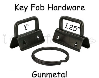 25 Key Fob Hardware with Key Rings Sets - 1 Inch or 1.25 Inch Gunmetal - Plus Instructions - SEE COUPON