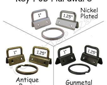 10 Key Fob Hardware with Key Rings Sets - Pick Finish and Size - Plus Instructions - SEE COUPON