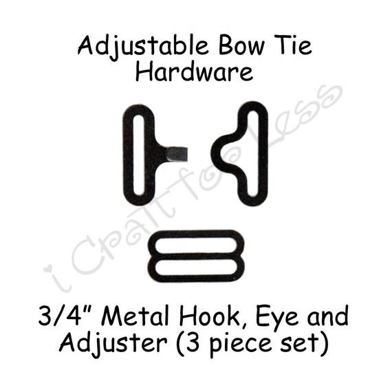 """25 Sets Bow Tie Hardware Fastener Clips Hook /& Eye 3//4/"""" Black Slide Adjuster"""