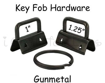 100 Key Fob Hardware with Key Rings Sets - 1 Inch or 1.25 Inch Gunmetal - Plus Instructions - SEE COUPON