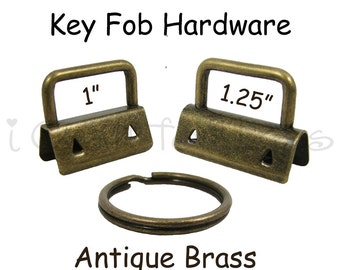 25 Key Fob Hardware with Key Rings Sets - 1 Inch or 1.25 Inch Antique Brass - Plus Instructions - SEE COUPON