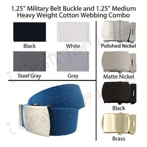 2 3 Finishes and 4 Sizes Pick from 21 Colors Kids 1 Canvas Military Web Belt