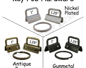 50 Key Fob Hardware with Key Rings Sets - Pick Finish and Size - Plus Instructions - SEE COUPON