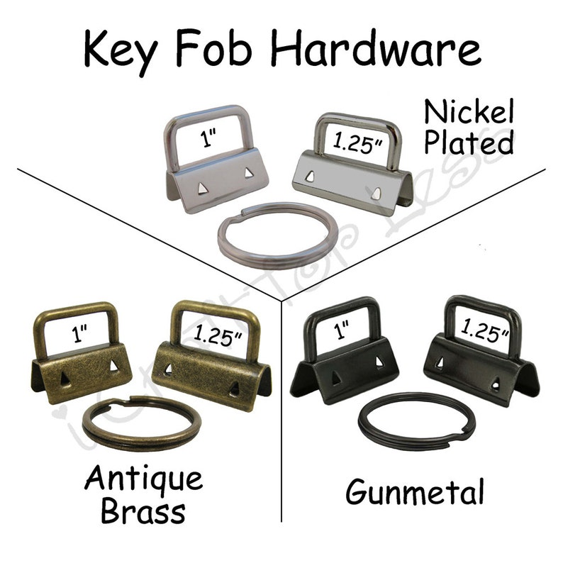Plus Instructions Pick Finish and Size 50 Key Fob Hardware with Key Rings Sets