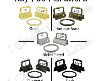 5 Key Fob Hardware with Key Rings Sets - Pick Finish and Size - Plus Instructions - SEE COUPON