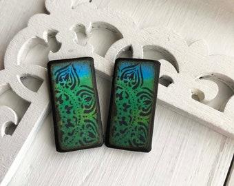 Mandala Magic Blue Lime Green Florentine Decoupage Woodburned Wafer ART Tile Earring pair