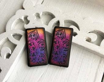 Mandala Magic Peach Pink Purple Florentine Decoupage Woodburned Wafer ART Tile Earring pair
