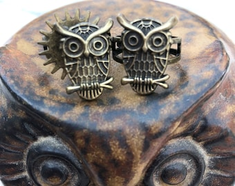 Steampunk Owl Rings - Hers & His