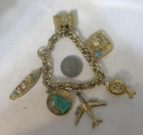 Vintage 50s Travel Charm Bracelet Globe Airplane Goldtone  73573a9b763