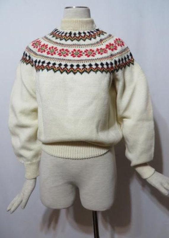 Vintage Sweater 50s Rockabilly MCM WOOL Ski Winter