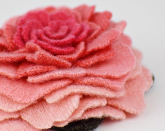Recycled Cashmere Handmade Flower Pin Brooch #007