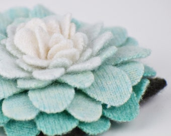 Recycled Cashmere Handmade Flower Pin Brooch #004