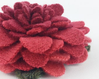 Recycled Cashmere Handmade Flower Pin Brooch #040