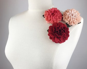 Recycled Cashmere Handmade Flower Pin Brooch #042