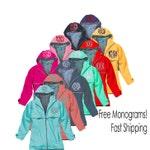 Monogrammed Rain Jacket-Charles River New Englander- Aqua, navy, red, coral, mint, yellow, hot pink, black rainjacket hood monogram included