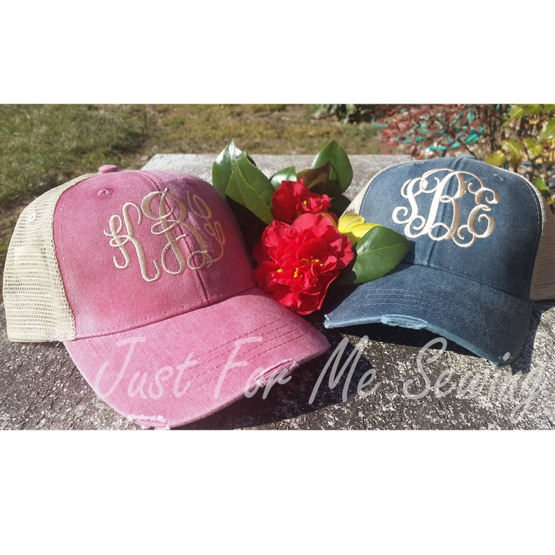 Monogrammed Trucker Hat Cap  Distressed Look  Just for Me image 0