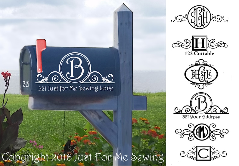 Mailbox Monogram Decal-Fast Shipping-Made in the USA image 0