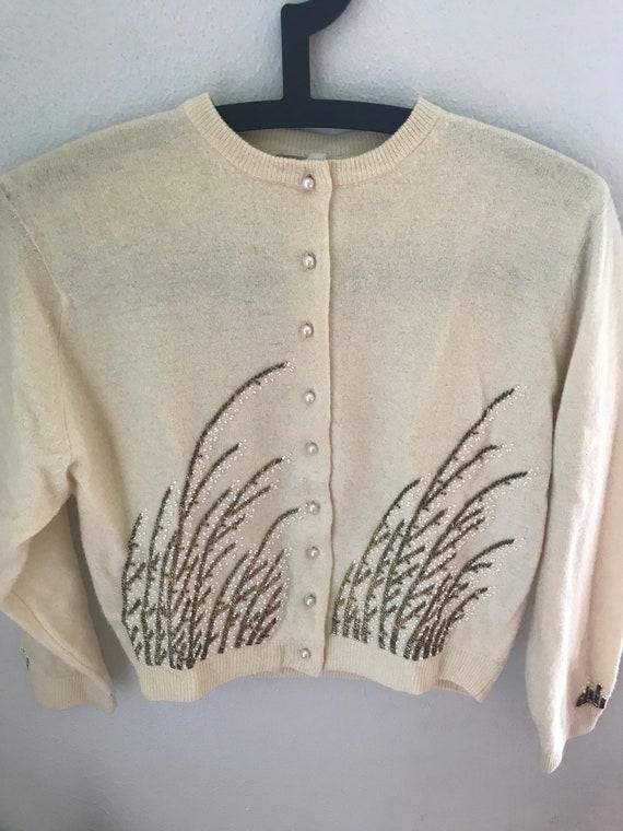 Vintage 1950s Beaded Pinup Cardigan