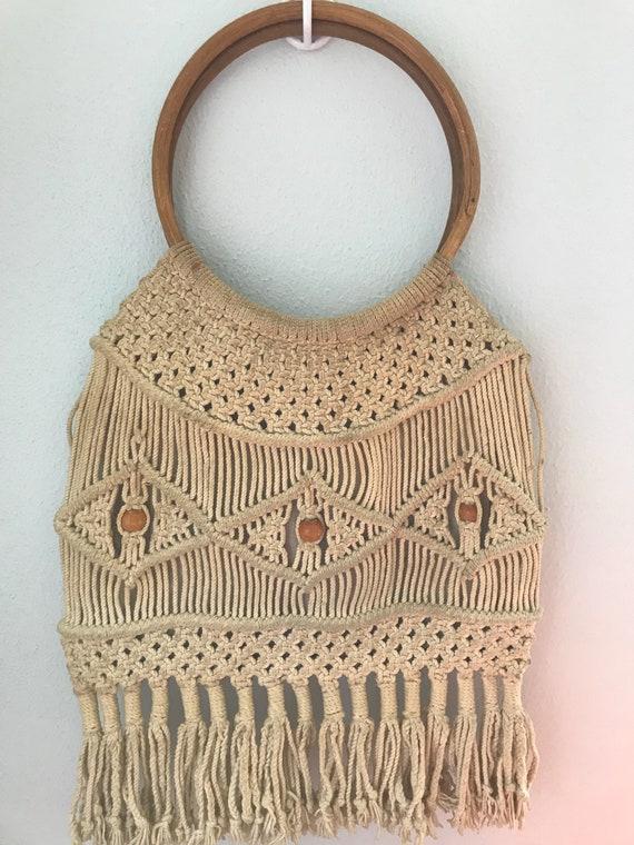 Vintage 1970s Macrame Crochet Boho Market Bag