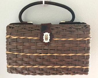 Vintage 1950s Wicker Basket Handbag
