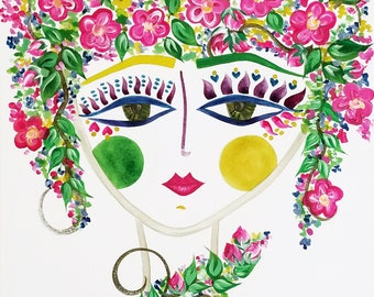 Meet Cherry Blossom! A Gypsy Garden Girl - Carmen Miranda Inspired Face - Print from Original Watercolor Painting by Suzanne MacCrone Rogers