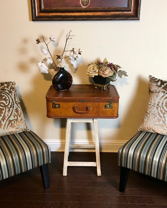 Restoration Hardware Style End Table Suitcase End Table Vintage End Table Steam Punk End Table Farmhouse Style End Table
