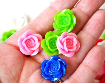 18mm Rose Cabochons in Bright Pretty Colors, White Pink Red Blue and Green, Fun Resin Flatback Undrilled Cabochons for DIY Jewelry and Craft
