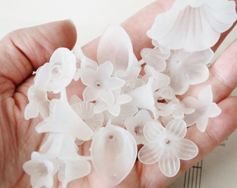 Assorted White Frosted Flower Beads, Large Size to Tiny, Random Mixed Shape Beads, 6mm to 30mm, Lily, Pansy, Bell shape, Daisies and More