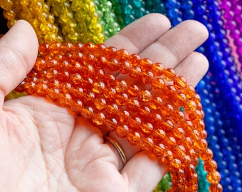6x6.5mm Orange or Deep Orange Crackle Glass Beads, 30 Inch Strand, 130 Beads, Beautiful Sparkly Crazed Inside Smooth Outside Rounded Beads