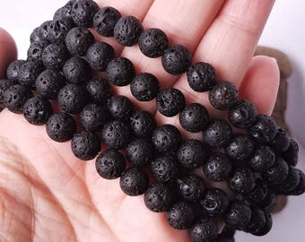 8mm Lava Stone Beads 45pc Strand Textured Round Black Pumice Earthy Volcanic Material
