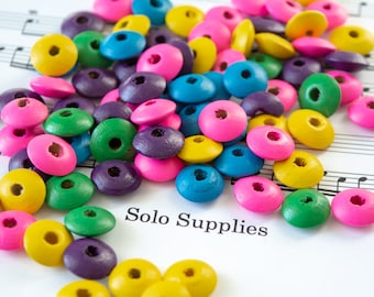 6x14mm Wooden Saucer Beads, Colorful Rondelle, Lightweight Painted Wood with Large 3mm Hole, Fun DIY Beads Macrame Jewelry Crafts Etc