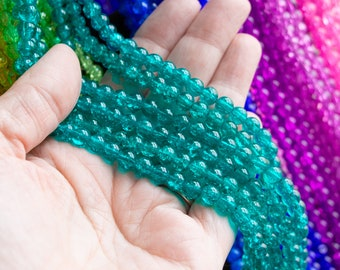6x6.5mm Teal Blue-Green Crackle Glass Beads, 30 Inch Strand, 130 Beads, Beautiful Sparkly Crazed Inside Smooth Outside Rounded Beads